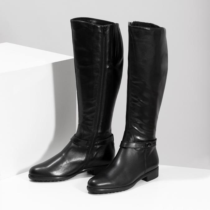 Kožené černé dámské kozačky bata, černá, 594-6676 - 16