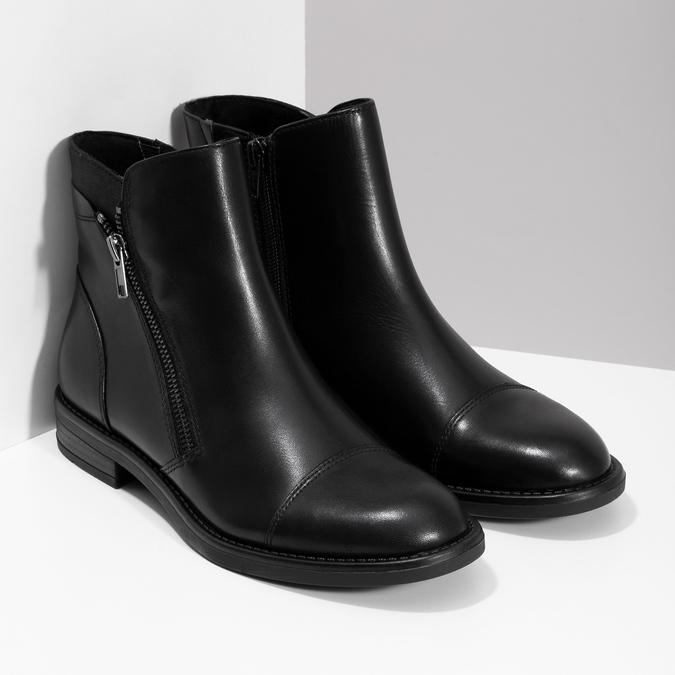 Kožená dámská kotníčková obuv bata, černá, 594-6711 - 26