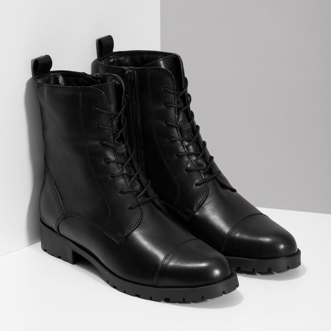 Černé dámské kožené kozačky bata, černá, 594-6718 - 26