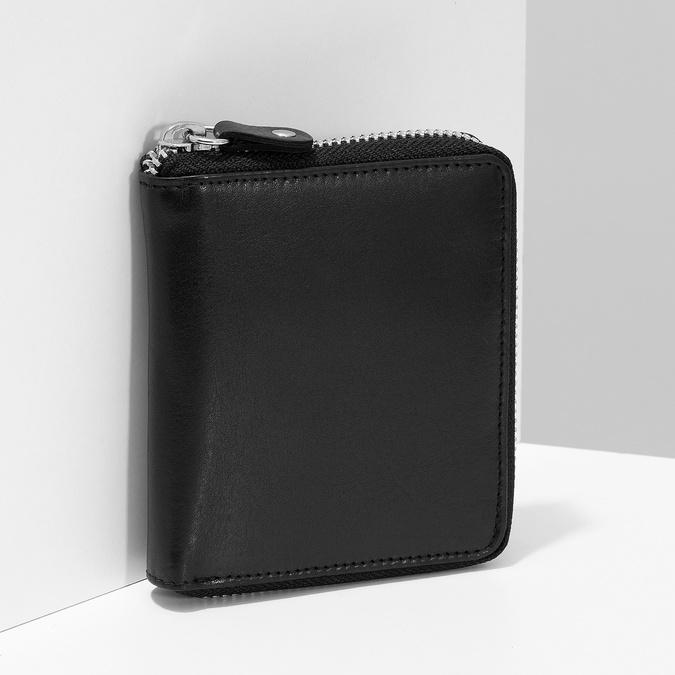 Černá kožená peněženka na zip bata, černá, 944-6603 - 17