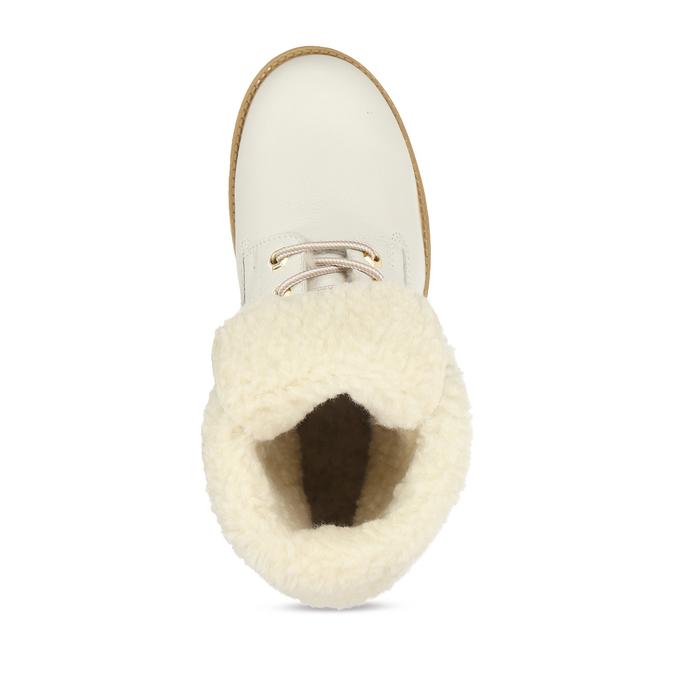 Dámská bílá kožená obuv s kožíškem weinbrenner, bílá, 596-1743 - 17