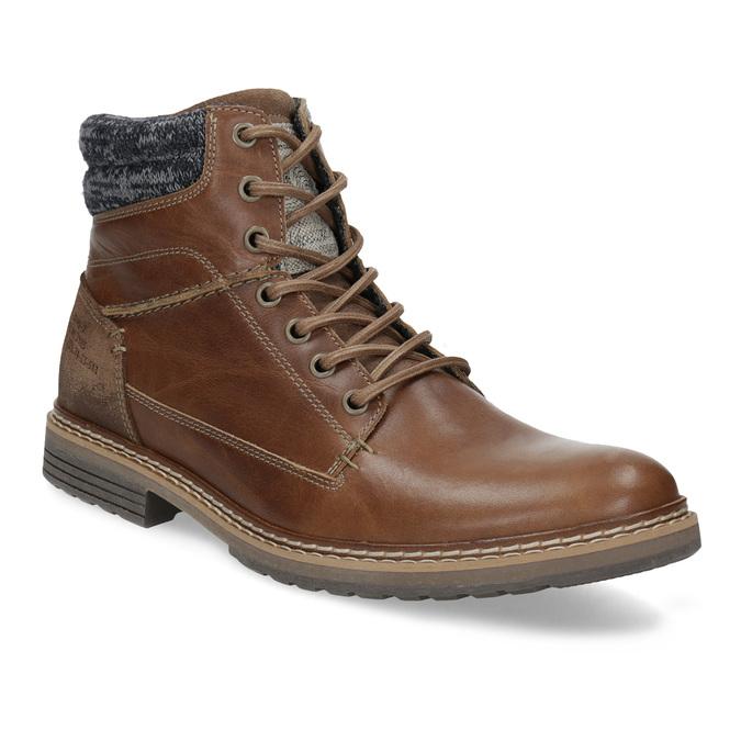 Kožená pánská kotníková obuv hnědá bata, hnědá, 896-3713 - 13