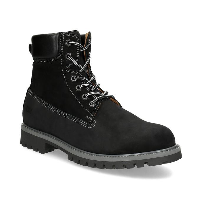 Pánská kožená kotníčková obuv s prošitím weinbrenner, černá, 896-6733 - 13