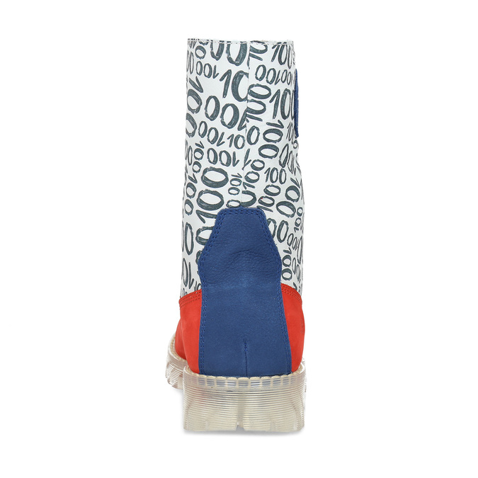 Originální kožená dámská kotníčková obuv s potiskem, modrá, 596-9760 - 15
