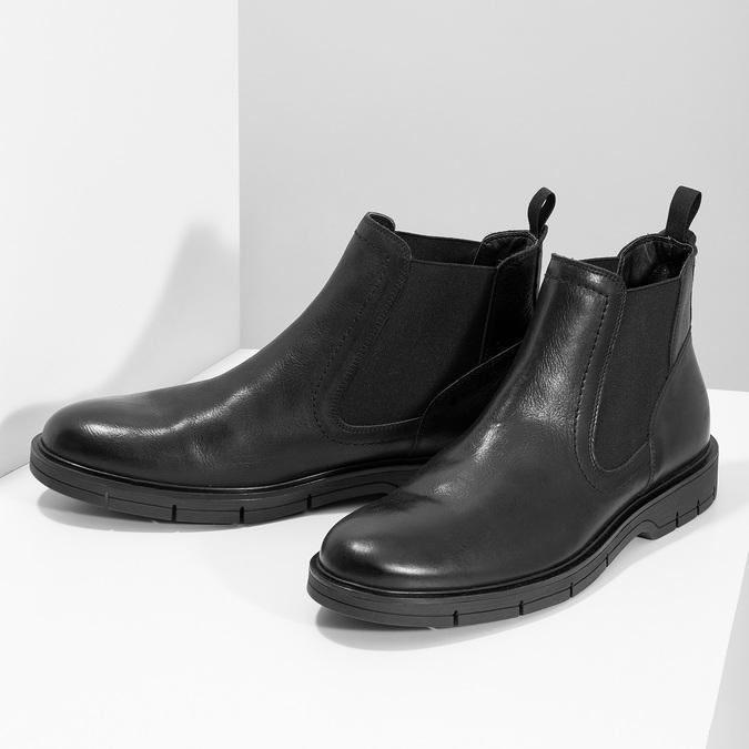 Pánské kožené Chelsea Boots černé flexible, černá, 894-6714 - 16