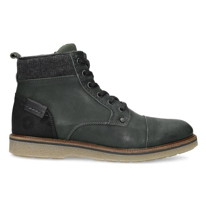 Zelená kožená kotníčková pánská obuv bata, zelená, 896-7669 - 19