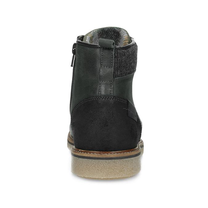 Zelená kožená kotníčková pánská obuv bata, zelená, 896-7669 - 15