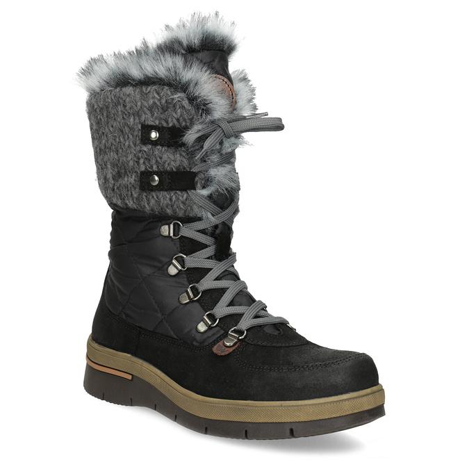 Dámská černá zimní obuv s kožíškem weinbrenner, černá, 596-6755 - 13
