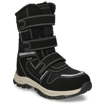 Černá dětská zimní obuv s prošitím mini-b, černá, 491-6667 - 13
