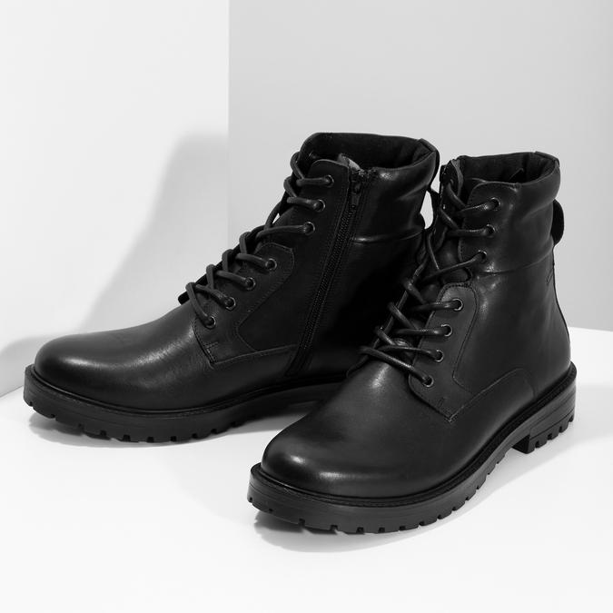 Zimní kožená kotníková obuv černá bata, černá, 896-6731 - 16