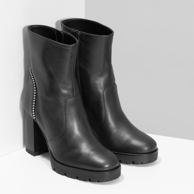 Kožená kotníčková obuv s kovovou aplikací bata, černá, 796-9665 - 26