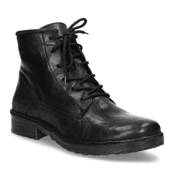 Dámská kožená kotníčková obuv se šněrováním bata, černá, 596-6740 - 13