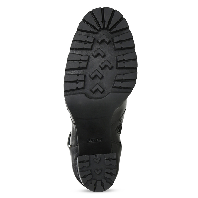 Kožená kotníčková obuv s kovovou aplikací bata, černá, 796-9665 - 18