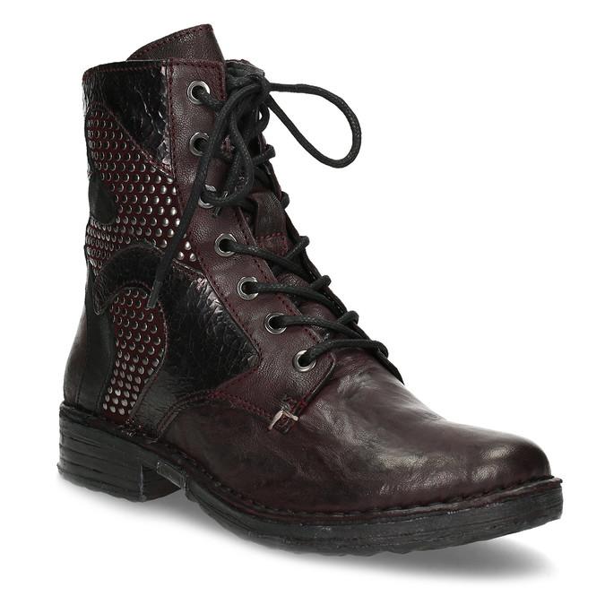 Vínová kožená dámská kotníčková obuv bata, červená, 596-5741 - 13