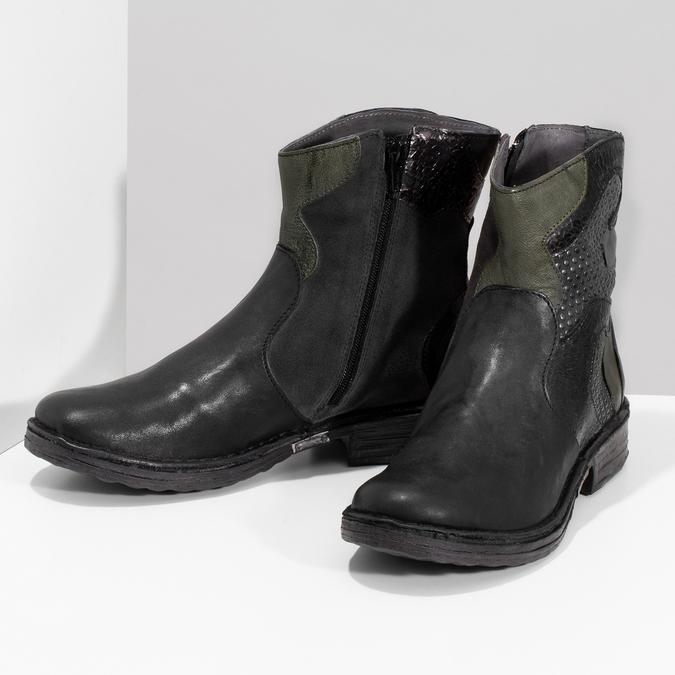 Kožená kotníčková obuv se cvočky bata, černá, 596-6742 - 16