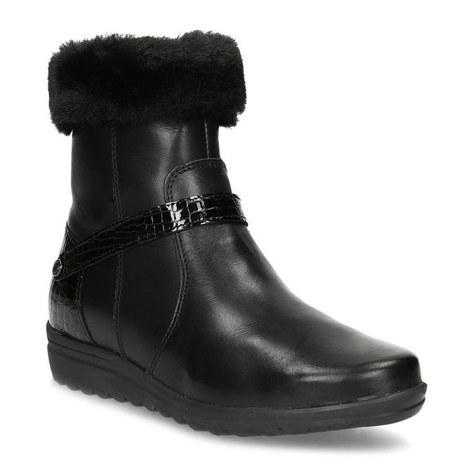 Dámské kožené zimní boty s kožíškem comfit, černá, 594-6710 - 13