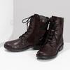 Vínová kožená dámská kotníčková obuv bata, červená, 596-5741 - 16
