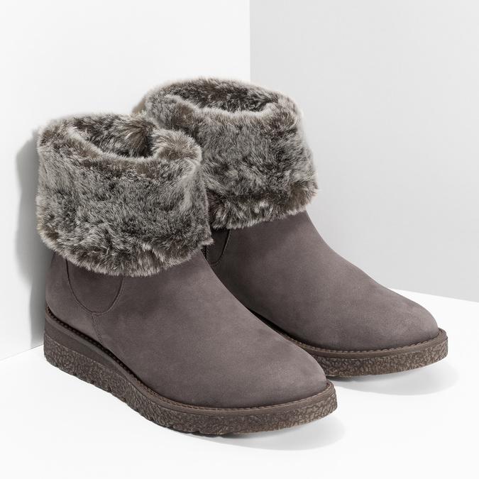 Kožená dámská zimní obuv s kožíškem bata, hnědá, 596-3704 - 26