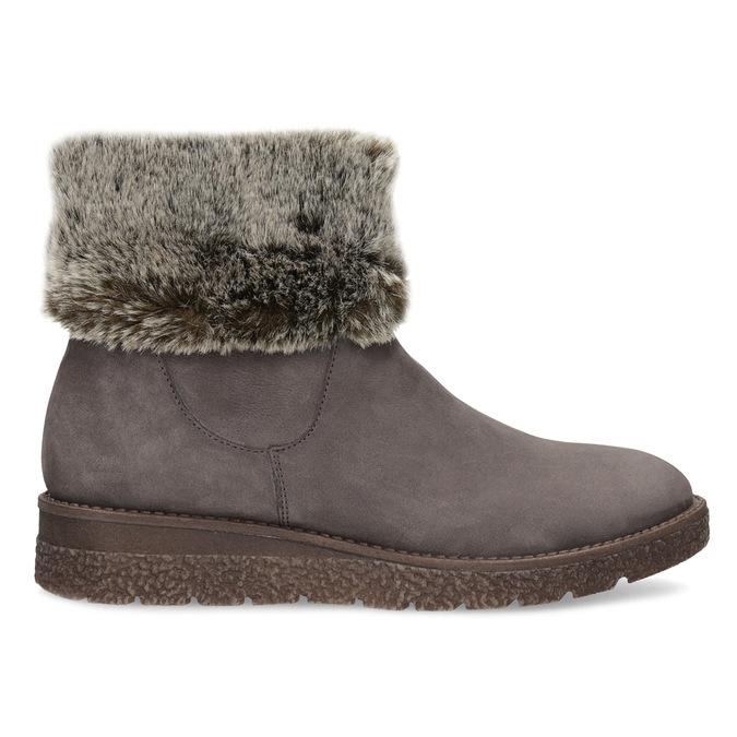 Kožená dámská zimní obuv s kožíškem bata, hnědá, 596-3704 - 19