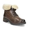 Dámská kožená kotníčková obuv s kožíškem bata, hnědá, 694-4669 - 13