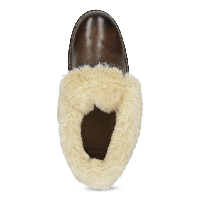 Dámská kožená kotníčková obuv s kožíškem bata, hnědá, 694-4669 - 17