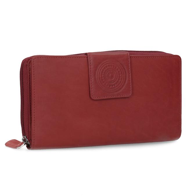 Kožená dámská peněženka s mandalou červená bata, červená, 944-5615 - 13