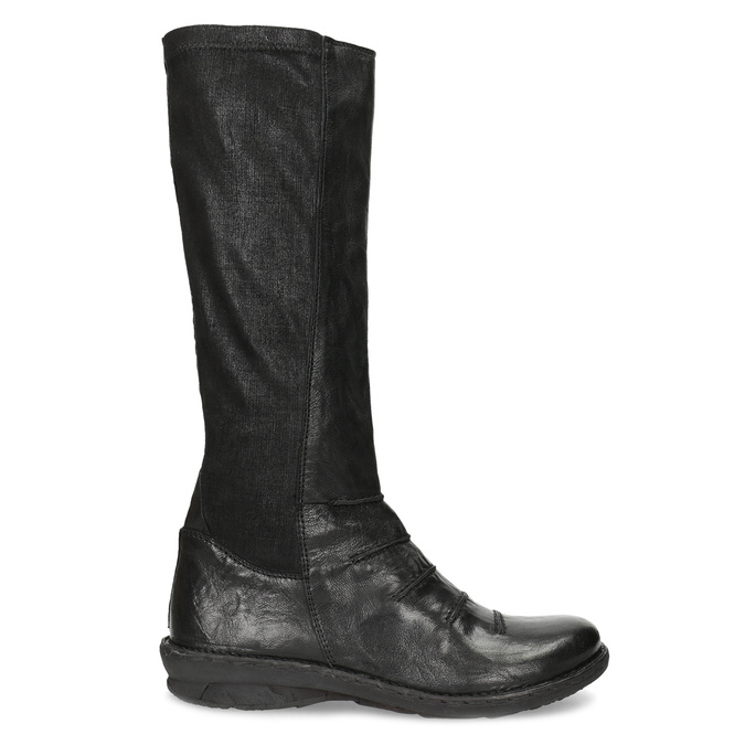 Černé kožené dámské kozačky s prošitím bata, černá, 596-6698 - 19