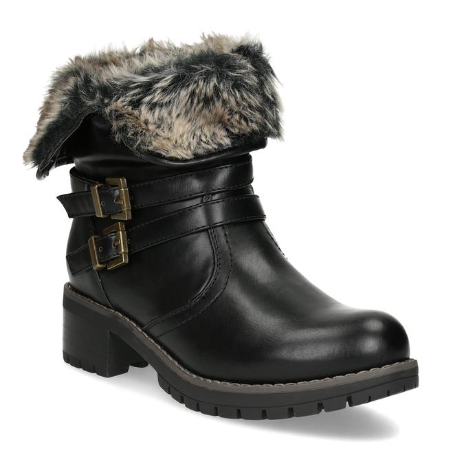 Černé dámské kozačky s kožíškem a přezkami bata, černá, 691-6642 - 13