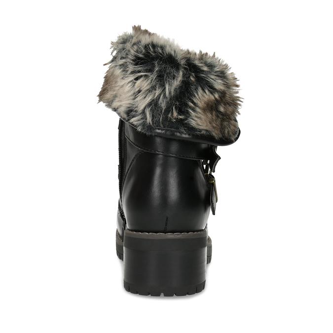 Černé dámské kozačky s kožíškem a přezkami bata, černá, 691-6642 - 15