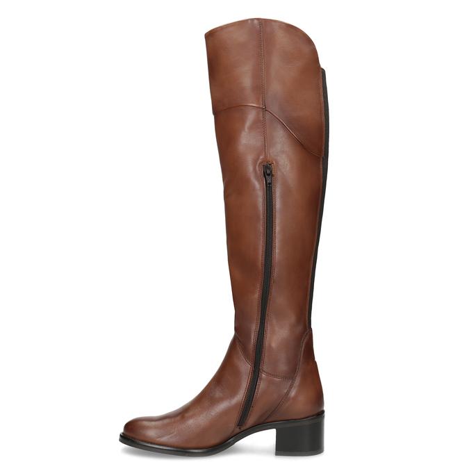 Kožené kozačky nad koleno hnědé bata, hnědá, 694-4666 - 17