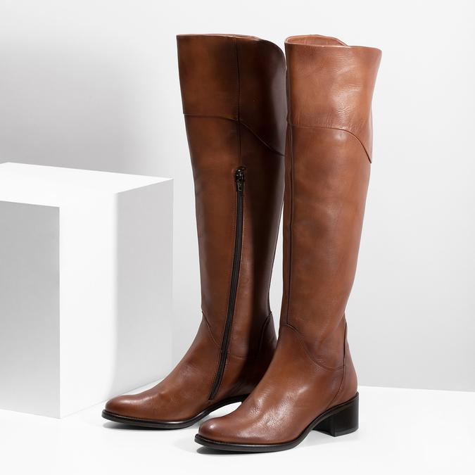 Kožené kozačky nad koleno hnědé bata, hnědá, 694-4666 - 16