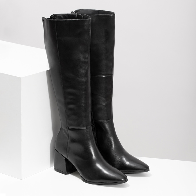 Kožené černé kozačky s decentním prošitím bata, černá, 694-6673 - 26