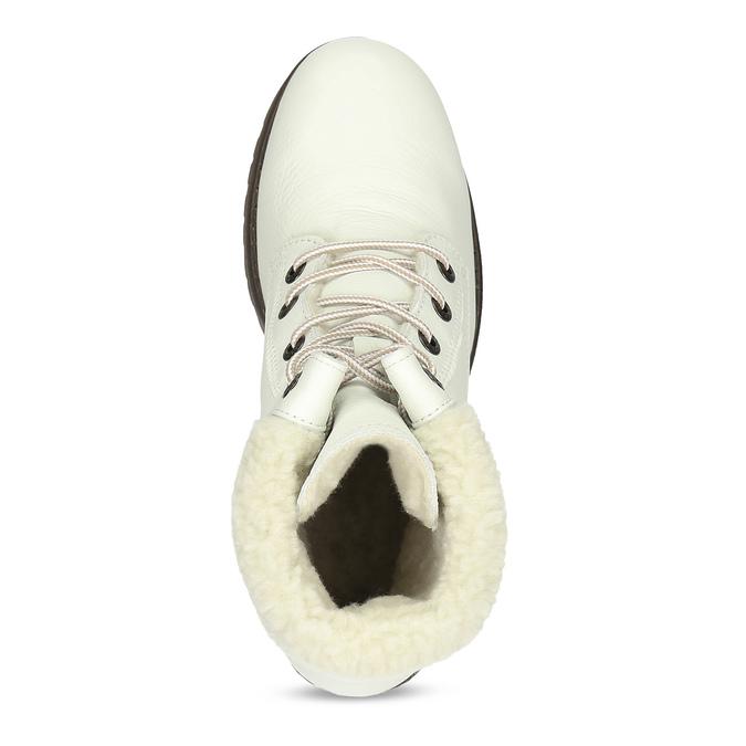 Bílé kožené kozačky na stabilním podpatku weinbrenner, bílá, 696-1667 - 17