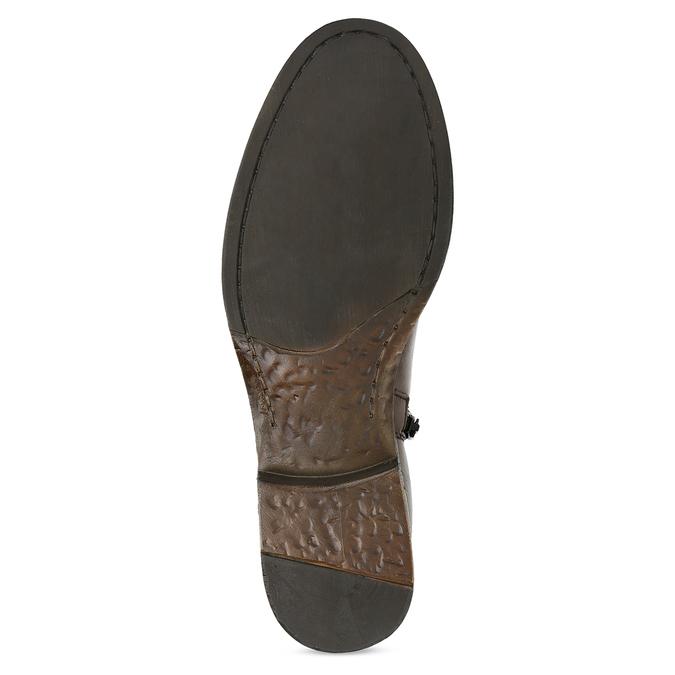 Kožené hnědé kozačky s přezkou bata, hnědá, 594-3678 - 18