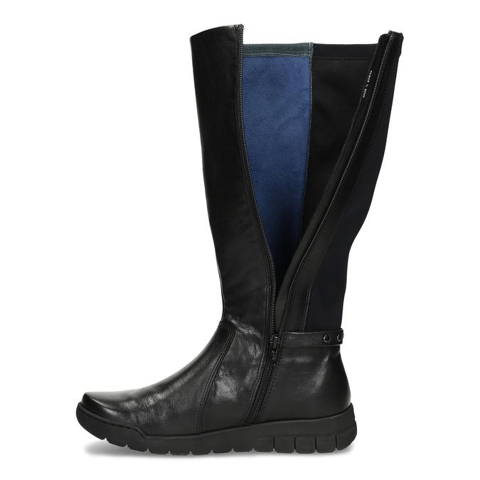 Dámské kožené černé kozačky bata, černá, 594-6684 - 17
