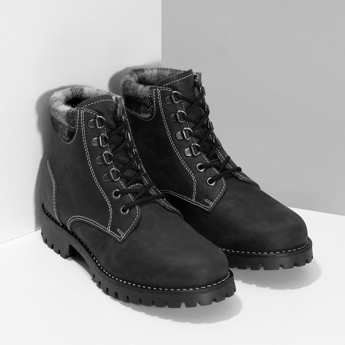 Černá dámská kožená kotníčková obuv weinbrenner, černá, 596-6729 - 26