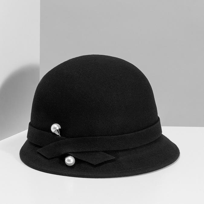 Černý dámský klobouk s perličkami bata, černá, 909-6283 - 15
