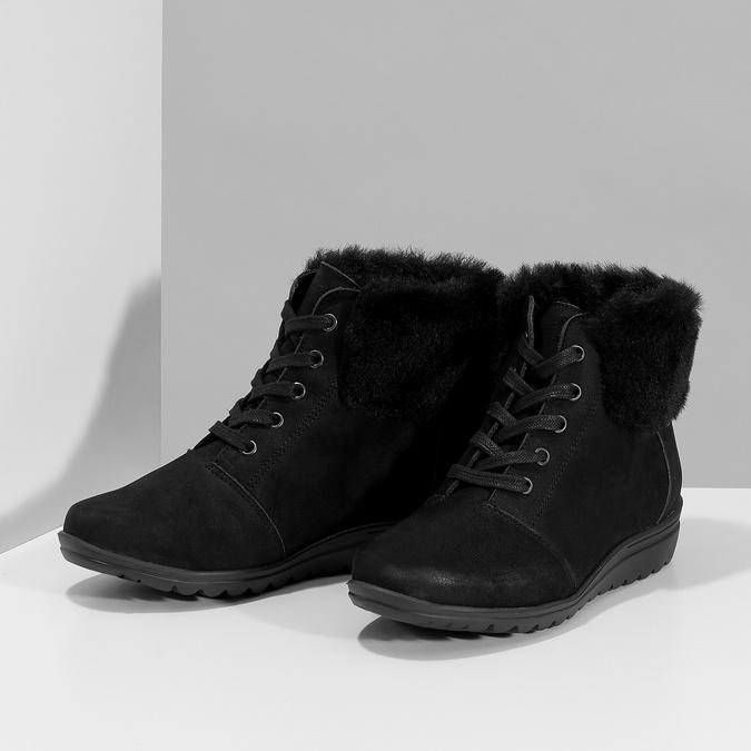 Kotníčková dámská kožená obuv comfit, černá, 596-6711 - 16