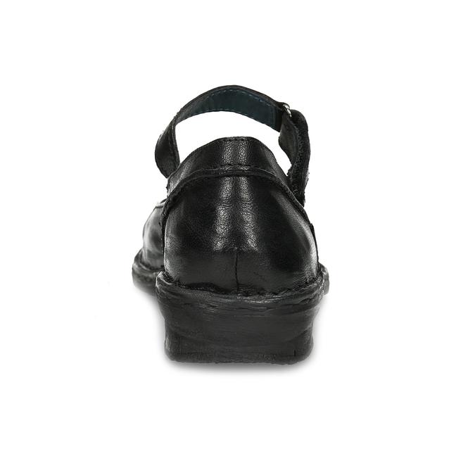 Kožené černé baleríny s páskem bata, černá, 526-6664 - 15