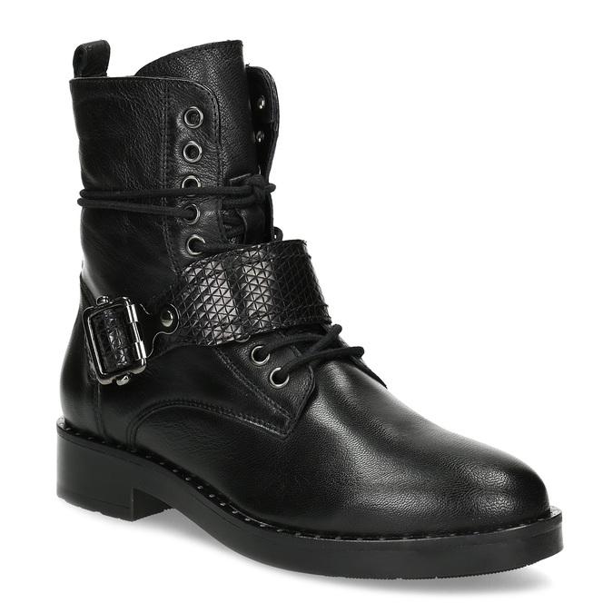 Kožená dámská kotníčková obuv s přezkou bata, černá, 596-6724 - 13