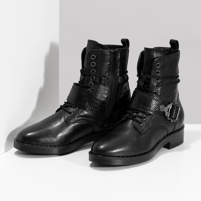 Kožená dámská kotníčková obuv s přezkou bata, černá, 596-6724 - 16