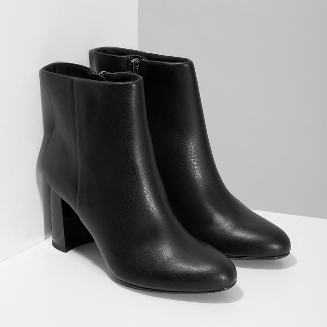 Černé kotníčkové kozačky na stabilním podpatku bata-b-flex, černá, 791-6615 - 26