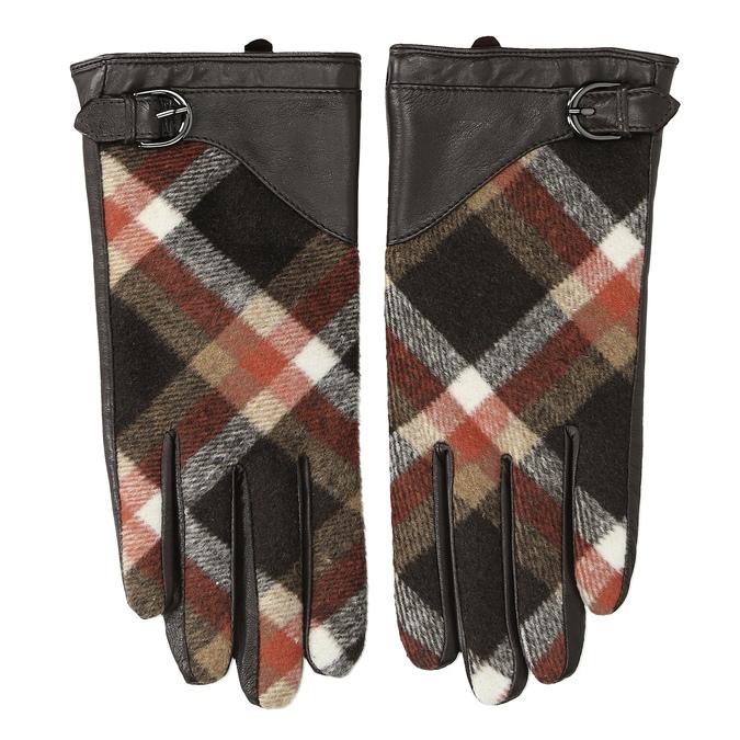 Dámské kožené rukavice kárované hnědé bata, hnědá, 904-4138 - 26