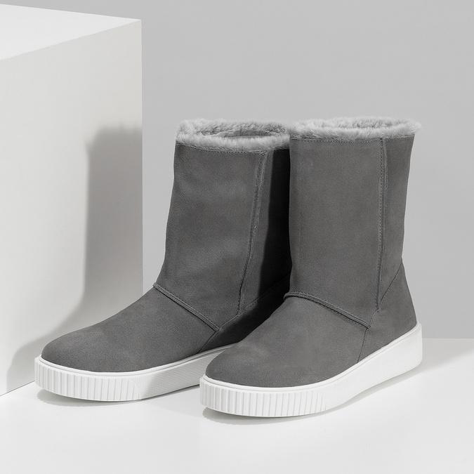 Dámská zimní kožená obuv šedá bata, šedá, 593-2613 - 16