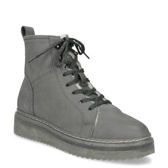 Kotníčková dámská kožená zimní obuv bata, šedá, 596-2713 - 13