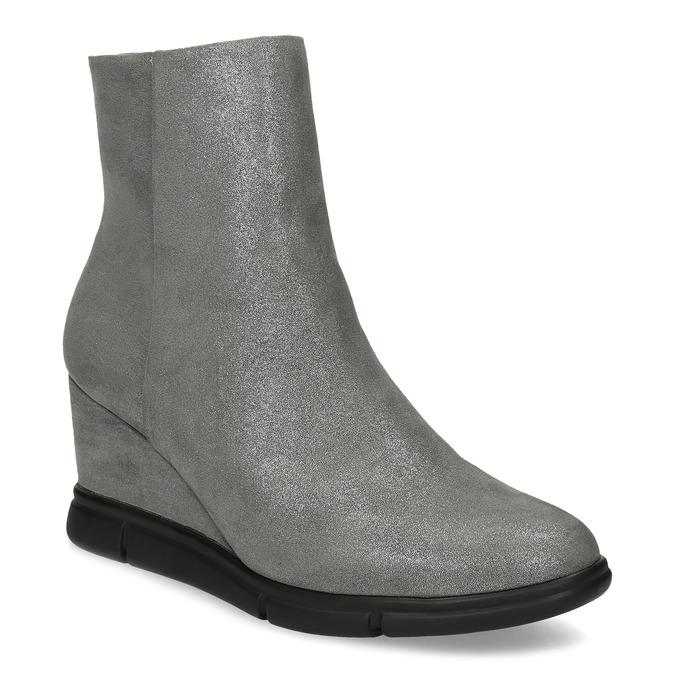 Dámská kotníčková obuv na klínku stříbrná bata-b-flex, stříbrná, 799-2642 - 13