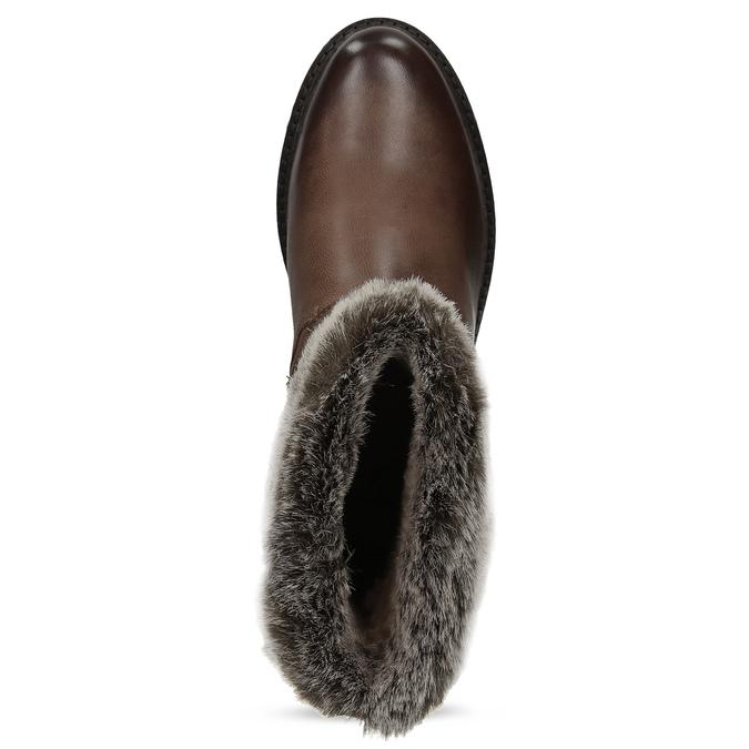 Dámská zimní kožená obuv s kožíškem bata, hnědá, 596-4701 - 17