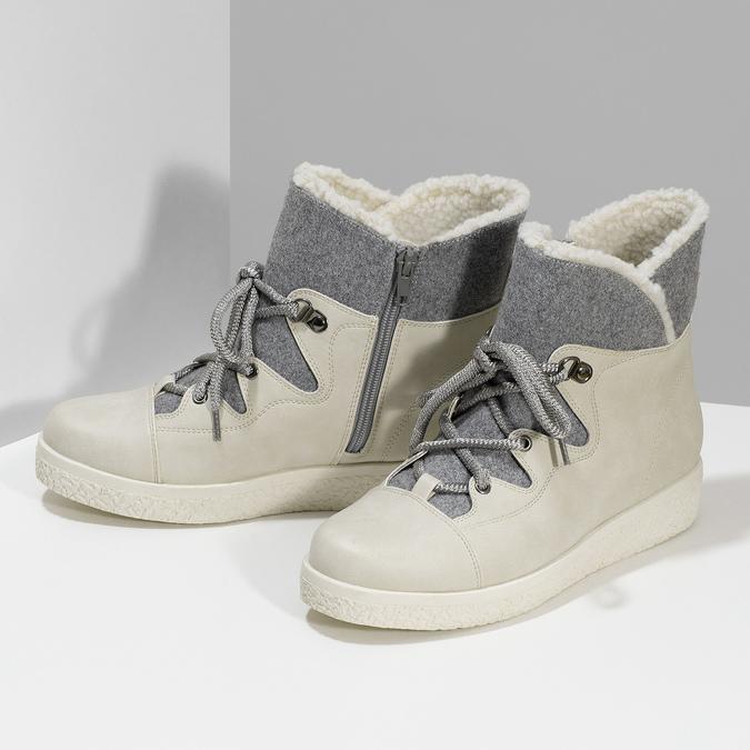Dámská zimní obuv s kožíškem bata-red-label, béžová, 591-1637 - 16