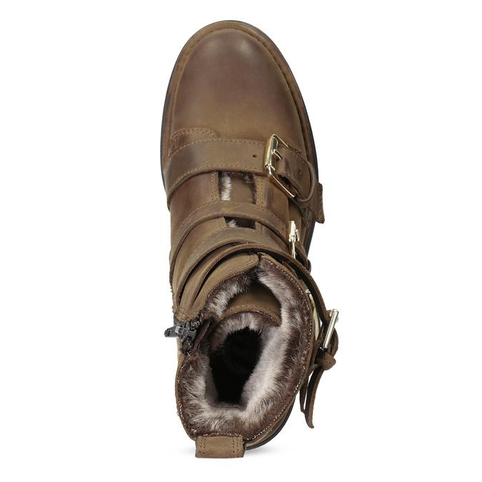 Hnědá kožená kotníková obuv s přezkami bata, hnědá, 596-4735 - 17