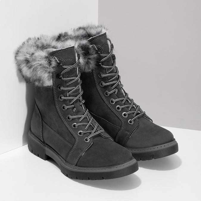 Dámská kožená zimní obuv s kožíškem weinbrenner, černá, 596-6748 - 26